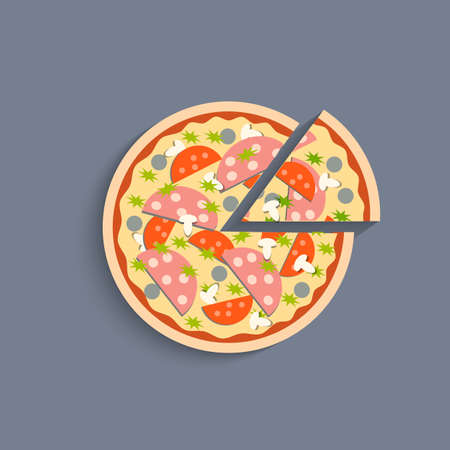 italian sausage: Stylized icon of pizza. Vector EPS10