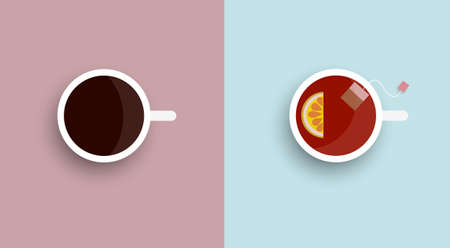 Two icons stylized cup tea and coffee - top view.  Ilustração