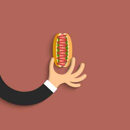 Flat hand with hot dog in cartoon style. Vector EPS10 Vector