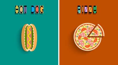 perro caliente: La pizza estilizada y perro caliente. Vector conjunto
