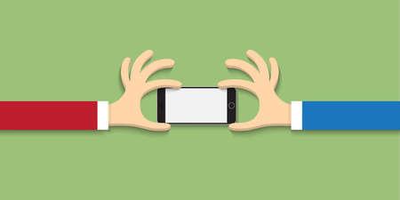 Two hands with smartphone  in cartoon style. Vector  Vector