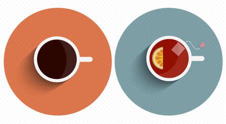 두 아이콘 긴 그림자와 컵 차와 커피 양식에 일치시키는. 벡터 설정