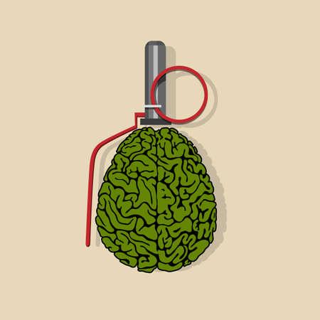 Stylized Brain hand grenade.  Illustration