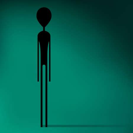 alien head: Stylized silhouette of Alien . Vector illustration Illustration