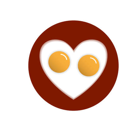 egg shaped: Fried eggs in shape heart. Vector conceptual illustration