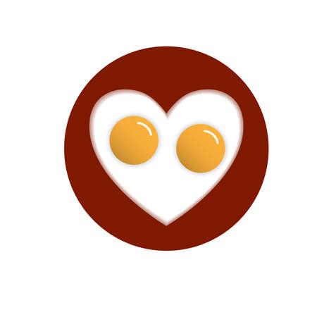 huevos estrellados: Huevos fritos en forma de coraz�n. Vector ilustraci�n conceptual