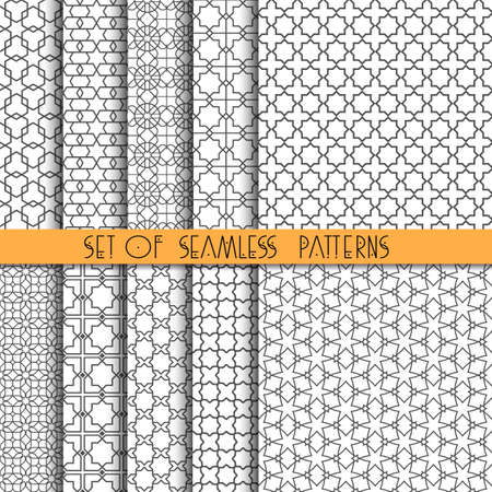 abstract  white: Set of ten monochrome arabic seamless patterns. Vector EPS10