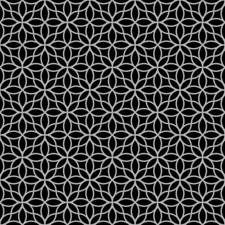 lacework: Black-and-white abstract floral seamless pattern. Vector background