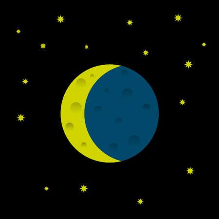 luna: Cartoon moon and stars. Vector
