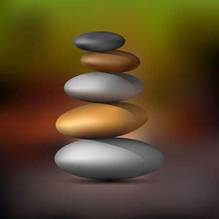 pebble: Realistic Zen stone tower. Vector
