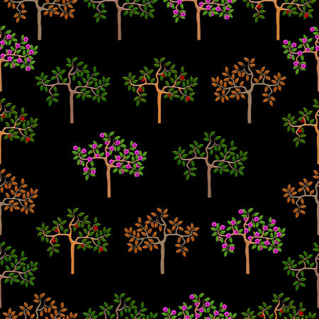 seasonal: Seamless pattern with seasonal trees. Vector background