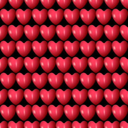 textile care symbol: 3d red hearts seamless pattern Illustration