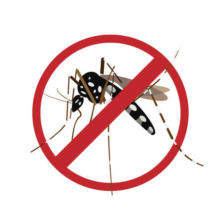 Aegypti mosquito with forbidden sign.