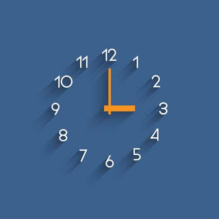 shadow: Trendy minimalistic clock with shadow on blue. Illustration