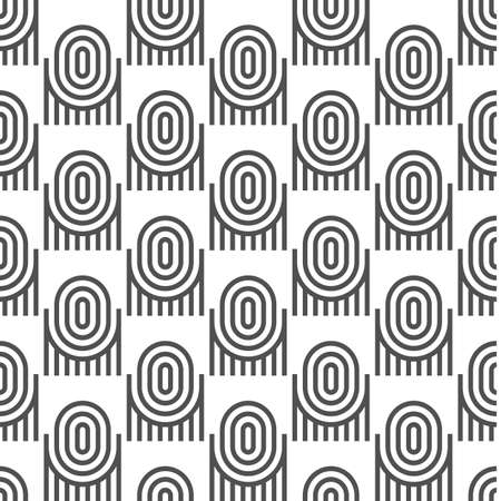 Black-and-white geometric seamless pattern with ovals. Vector background Illustration