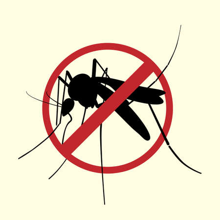 Icon of Aegypti mosquito with forbidden sign.