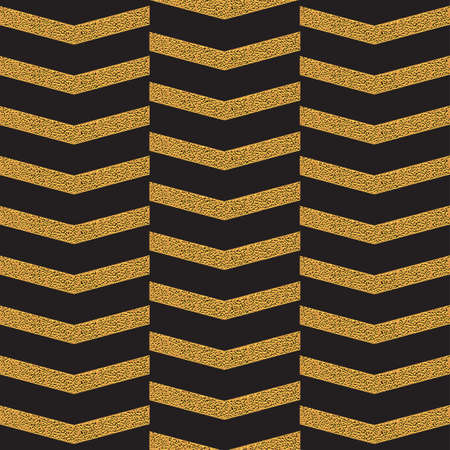 zig zag: Golden zig zag seamless pattern on black. Illustration
