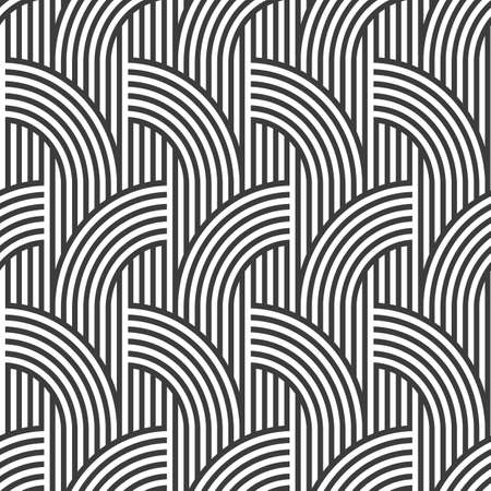 variation: Black and white geometric striped seamless pattern - variation 2. Illustration