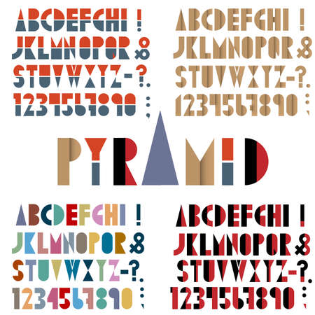 paper spell: Four fonts, numbers and punctuation marks in retro style.