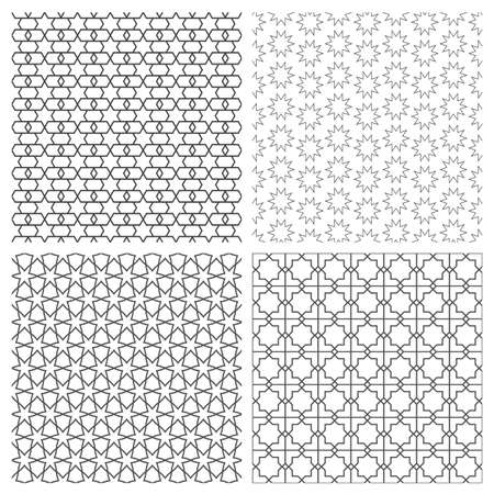 decorative design: Four delicate seamless patterns in arabian style.