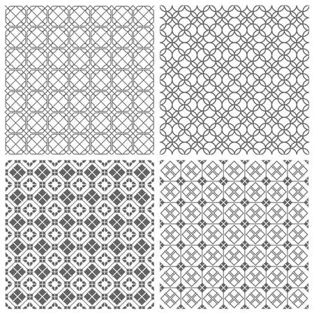 decorative design: Four geometric monochrome seamless tile patterns. Illustration