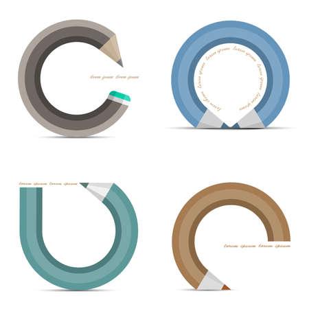 grafito: Vector conjunto de iconos en forma de lápiz concepto .Design, el elemento de plantilla