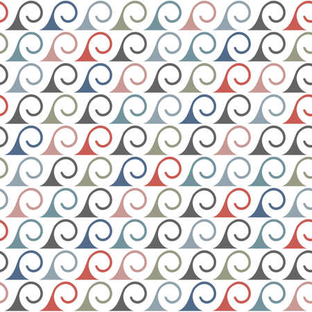 normal: Abstract seamless pattern of stylized waves in retro colors. Vector background