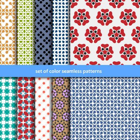 Farbige Muster Sammlung für die nahtlose Tapeten. Vektor-Set Vektorgrafik