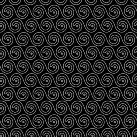 white water: Geometric black seamless pattern with stylized waves. Vector background