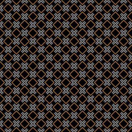 brown pattern: Checkered black seamless pattern with rhombus and cross. Vector background Illustration
