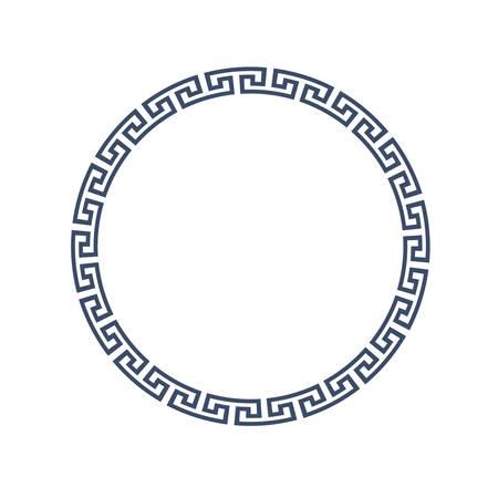 templo griego: Marco redondo decorativo para el diseño de estilo griego. Vectores