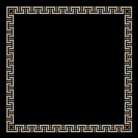 could: Geometric ethnic frame on black. Could be used as decoration element for design.