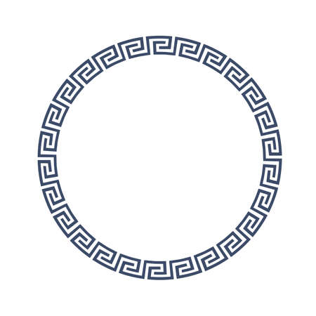 Round decorative frame for design in Greek style.