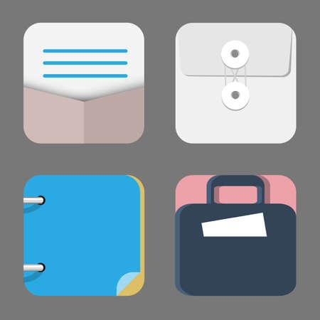 articulos de oficina: Cuatro iconos planos de aplicaciones web y móviles objetos, negocios, artículos de oficina. El conjunto del vector