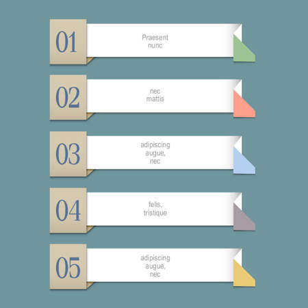 paper graphic: Modern Design template for graphic or website layout. Origami paper numbered banners. Vector EPS10