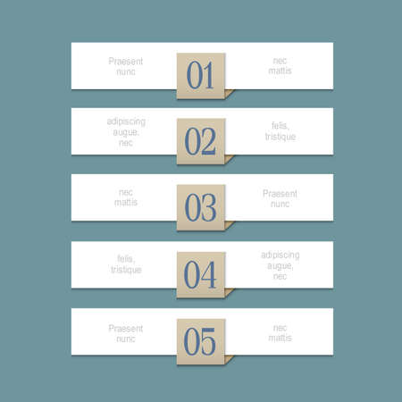 paper graphic: Modern white design template for graphic or website layout. Paper numbered banners. Vector EPS10 Illustration