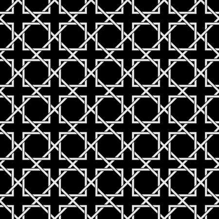 oriental pattern: Black and White Geometric Seamless pattern in Arabic style. Intertwined Oriental ornament. East Style Wallpaper. Vector background Illustration
