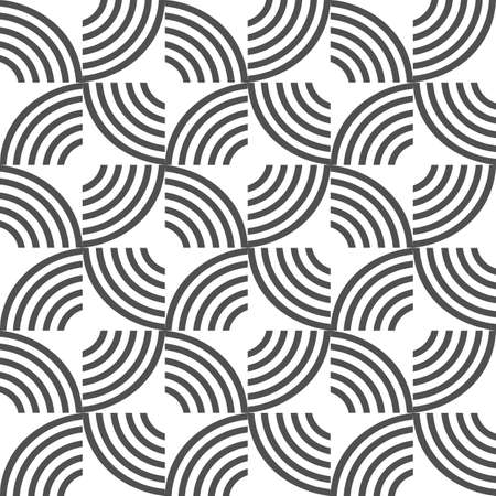 half: Black and white geometric striped seamless pattern . Vector background