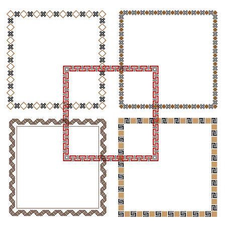 decoration elements: Five Geometric ethnic Frames. Could be used as decoration elements for design. Vector set Illustration