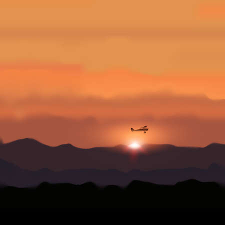 Landscape Mountain with Sunset and flying Plane. Traveling and Nature Vector Illustration Illustration