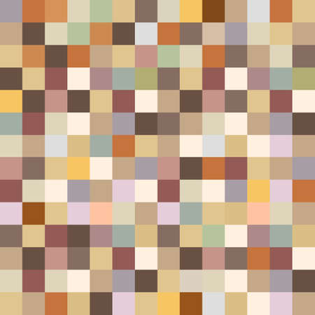 broun: Retro Seamless Pattern in Pixel style.Vector wallpaper in warm colors
