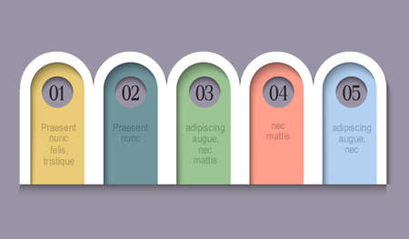 Infographic Options rounded Paper Banners. Creative Template for brochure, business, web design. Vector Design Elements for Your Business Illustration