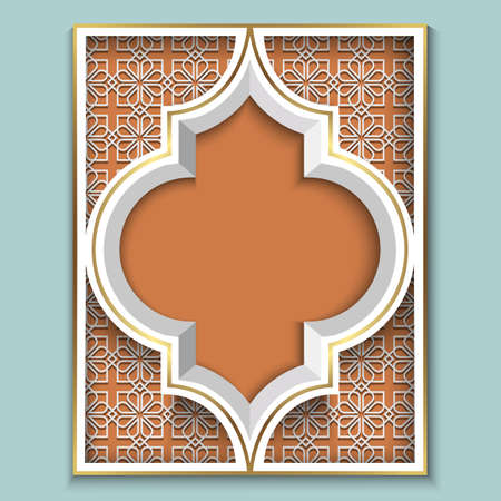 Abstract 3D Islamic design - pattern mosaic geometric ornament in Arabic Style. Vector element for design in Eastern style, place for text