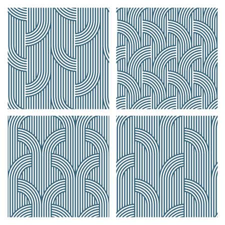 seamless patterns: Four Geometric striped seamless patterns. Vector set Illustration