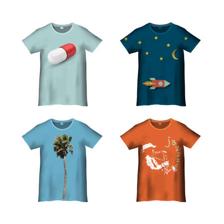 T-Shirt Template with different prints - variation 3. Vector set. Vectors for print in my portfolio Illustration