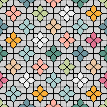 oriental vector: Colored Seamless Flower Pattern in Oriental style. Stained-glass window in East motif. Vector background Illustration