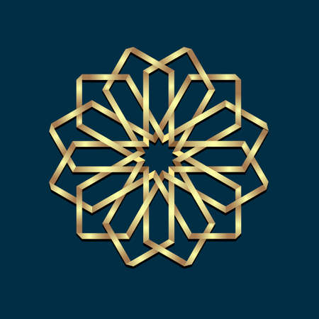 golden star: Islamic 3d golden origami round ornament. Arabic style design. Floral Oriental symbols