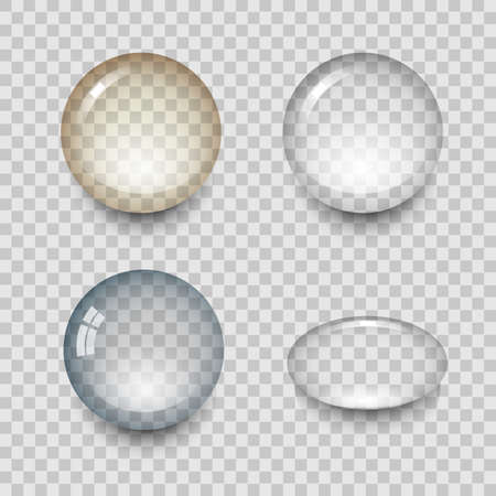 water reflection: Transparent drops of water with shadow and reflection. Realistic set isolated vector illustration