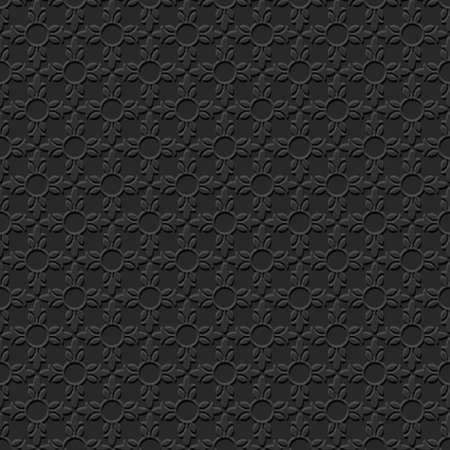 lacework: 3D Black Abstract Floral Seamless Pattern. Abstract Geometric Ornament. Retro Style. Vector background