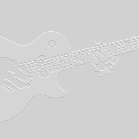 acoustical: 3 D Creative silhouette of guitar player. Vector illustration Illustration